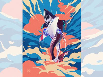 ✈️🐋 synchronizing...... cloud aeroplane whale procreate editorial illustration illustrator illustration