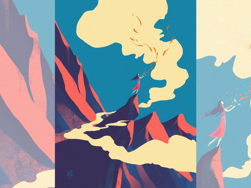 Untitled wind mountains procreate flag design girl women concept art editorial illustration illustrator illustration