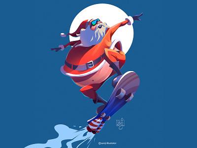 Christmas vibe....🤪 cool skateboard santa claus xmas concept art procreate flag design character design illustrator illustration