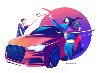 FlipRide car hero image vector illustration vector girl women procreate flag design editorial illustration character design illustrator illustration