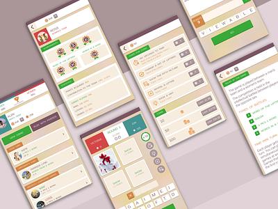 Word Puzzle Game - Mobile UI Design ux ui ui design ui kit design mobile ui mobile app design app