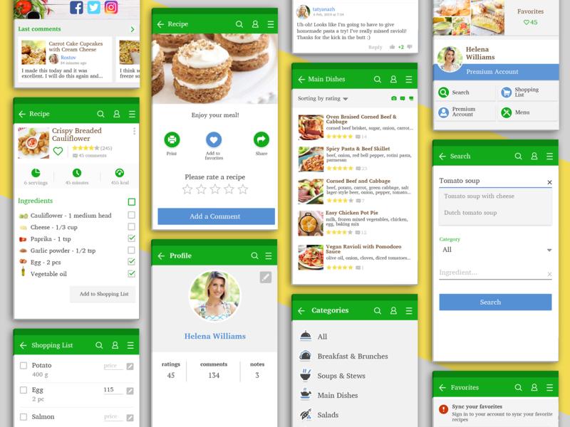 Recipe App - Mobile UI Design cookbook cooking recipe card recipe book recipe app recipe ui ui kit ui design mobile ui mobile app design design app