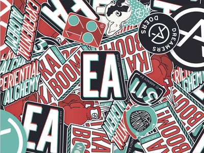 Agency EA Rebrand Stickers eventprofs creativeagency experiential agencyea swag stickers branding