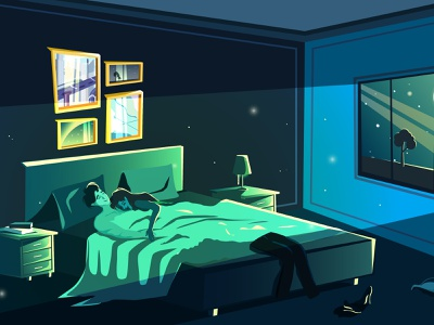 Couple in love sleeping in bed in the night. vector moon flat night bedroom love illustration drawing