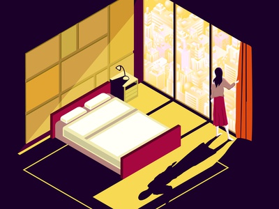 Isometric room in flat style.