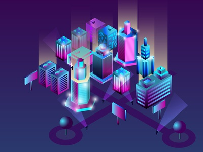 Isometric 3d city in neon ultraviolet colors.