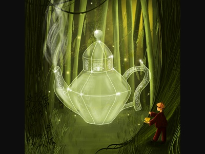 ...glass teapot in magic forest...