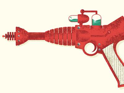 Ramón's Rojo Peacemaker vintage atomic age 1950s midcentury mid century weapon gouache vector gun science fiction texture illustration wild west retro sci-fi ray-gun ray gun blaster