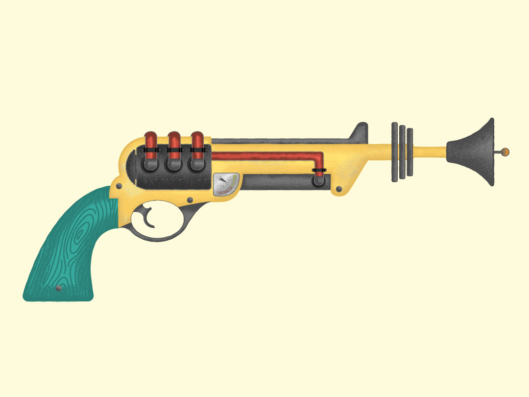 Big Iron atomic age guns 1950s mid century midcentury big iron gouache gun sci-fi retro blaster cowboy six shooter revolver ray-gun ray gun