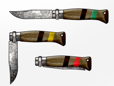 Laham Made Opinel Knives knife illustration handmade opinel edc camping hiking gear knives texture concept wood