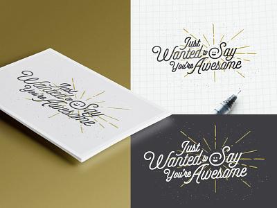 You're Awesome Mockup  lettering type print illustration script mockup cardstock
