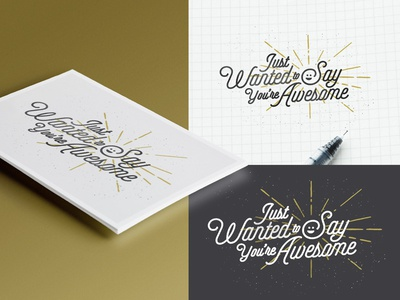You're Awesome Mockup  lettering type print illustration script mockup cardstock