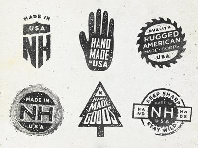 Hand Stamps branding logo design brand lettering stamp vintage distressed wild nh usa made