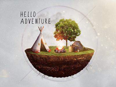 Hello Adventure Icon icon composite illustration tipi teepee camping adventure type gear bubble 3d