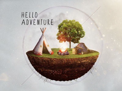 Hello Adventure Icon icon composite illustration tipi teepee camping adventure type gear bubble 3d