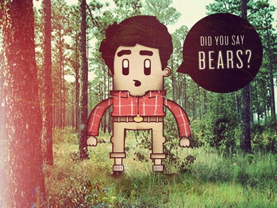Did You Say Bears? illustration doodle character woodsman plaid cuffs washed out vintage light leak