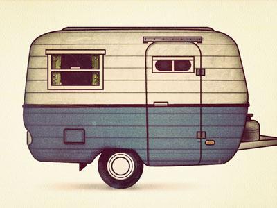 Camper illustration camper camping vintage outdoors sepia trailer blue texture