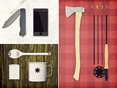 Tools of the trade axe fly rod cup spork lighter knife iphone camping urban woodsman outdoors