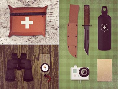 Tools of the trade 2 outdoors urban outdoorsman binoculars kabar fieldnotes compass med kit camping gear gopro sigg