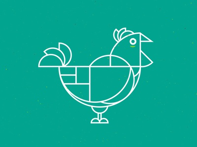 Chicken Geometric Green bacock circle branding dine food shapes rooster chicken geometric line illustration