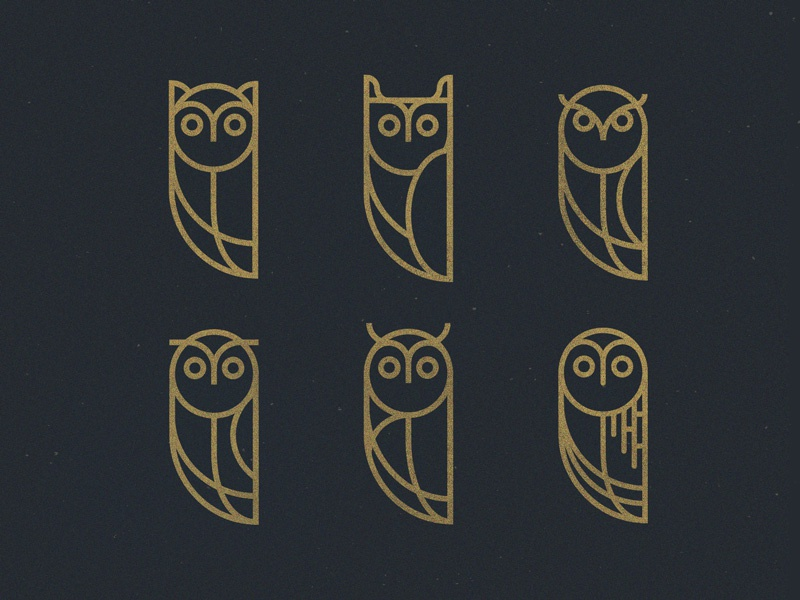The Owlettes series owlings birds vector lineart owls branding icon logo geometric animals