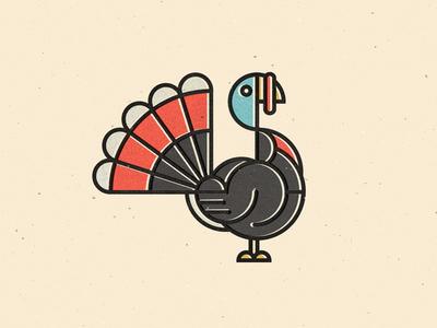 Happy Turkey Day geometric offset animal logo branding icons lineart turkey thanksgiving