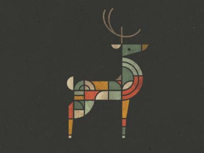 Reindeer Games series stained glass rein deer vector lineart deer branding icon logo geometric animals