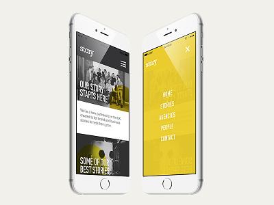 Story  hamburger menu menu typography graphic design website yellow ux ui mobile responsive design web