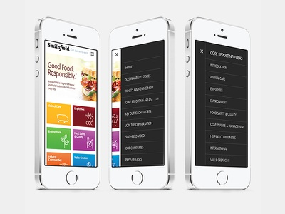 Responsive site pork producer photography producer food menu ux ui responsive device website mobile