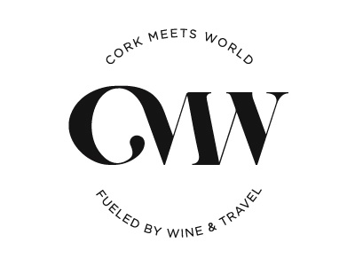 Logo concept for Cork Meets World typography lettering monogram letters scratch world map travel wine identity logo branding