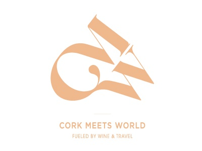 Logo concept for Cork Meets World gold font letters scratch world map travel wine identity logo branding