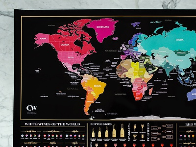 A printed scratch map prototype for a Cork Meets World project world wine travel print poster map gold font foil design countries colour