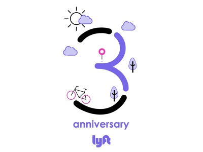 Lyftiversary sticker lyft logo graphic ui typography icon vector illustration branding print