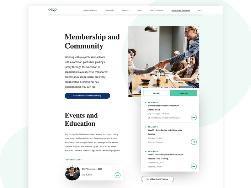 OCAP Membership & Community Page navigation webdesign website responsive redesign uxdesign user user interface uidesign ux ui design typography identity branding