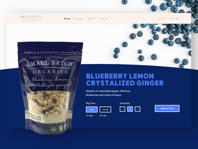 Small Batch Organics - Product Page colorful color photography granola bar granola food icon web responsive branding animation type website typography ux ui design
