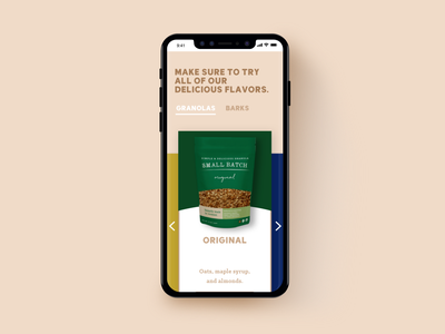 Small Batch - Mobile Carousel web responsive ecommerce product design ux ui design typography color granola food mobile carousel