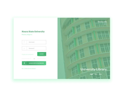 Kwara State University Portal Login Redesign college school ux design ux ui photoshop