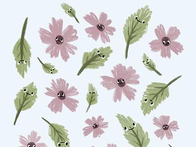 FloralFriendsPattern surface pattern pattern spring leaves flower procreate cute