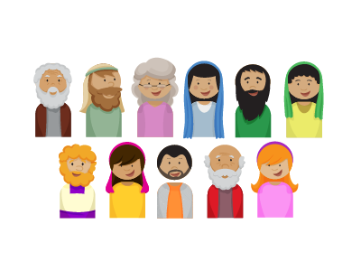 Bible Characters kidministry illustrator vector biblestories logos bible characters mary zacchaeus moses nicodemus zechariah