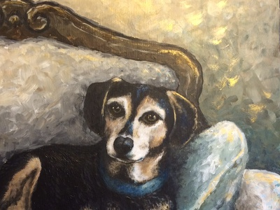 Milo the Mutt painting acrylic dog portrait analog