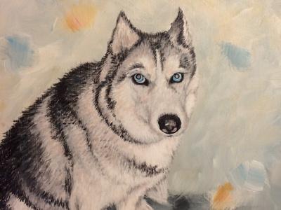 Faust painting acrylic dog portrait analog