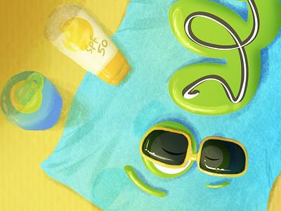 Summatime tan sun surf sand spf50 beach summer cute digital painting photoshop painting ps illustration
