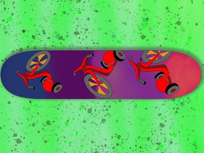 Wheels on Wheels: A Skateboard Deck summer graphic artist bright color austin texas graphic design photoshop modern punk street art skateboarding skater skateboard design illustration