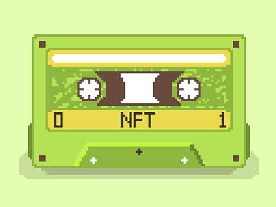 Cassette tape pixel style graphic design vintage cassette tape nft 8 bit pixel illustraion design