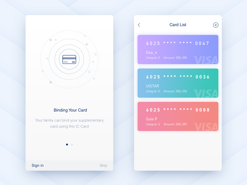 Card  ux bank ui clean interface interaction inspiration device demo connect card apple