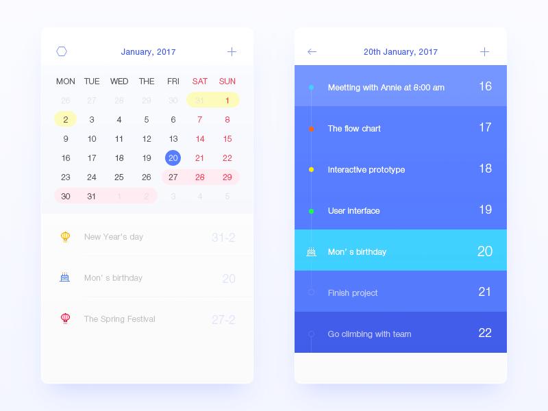 Calendar App Ui : Holiday calendar by wenjun dribbble