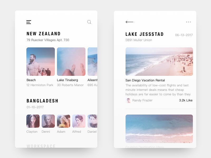 Diary ux ui time interface interaction inspiration demo connect clean apple travel diary