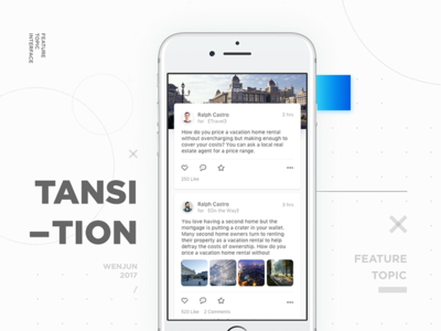 Topic animation transition ux ui travel social clean ios concept card topic
