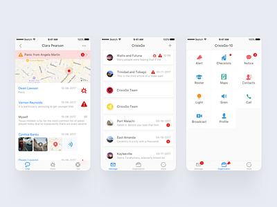 CrisisGo App profile call siren light contacts maps roster notice checklists alert app ui