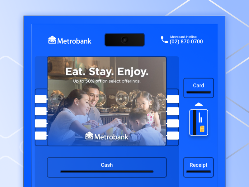 Metrobank ATM dailyui illustrator fintech finance metrobank screen saver redesign bank atm ui clean branding vector flat figma design